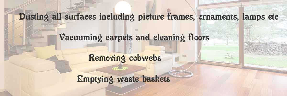 dusting all surfaces, vacuuming carpets, cleaning floors
